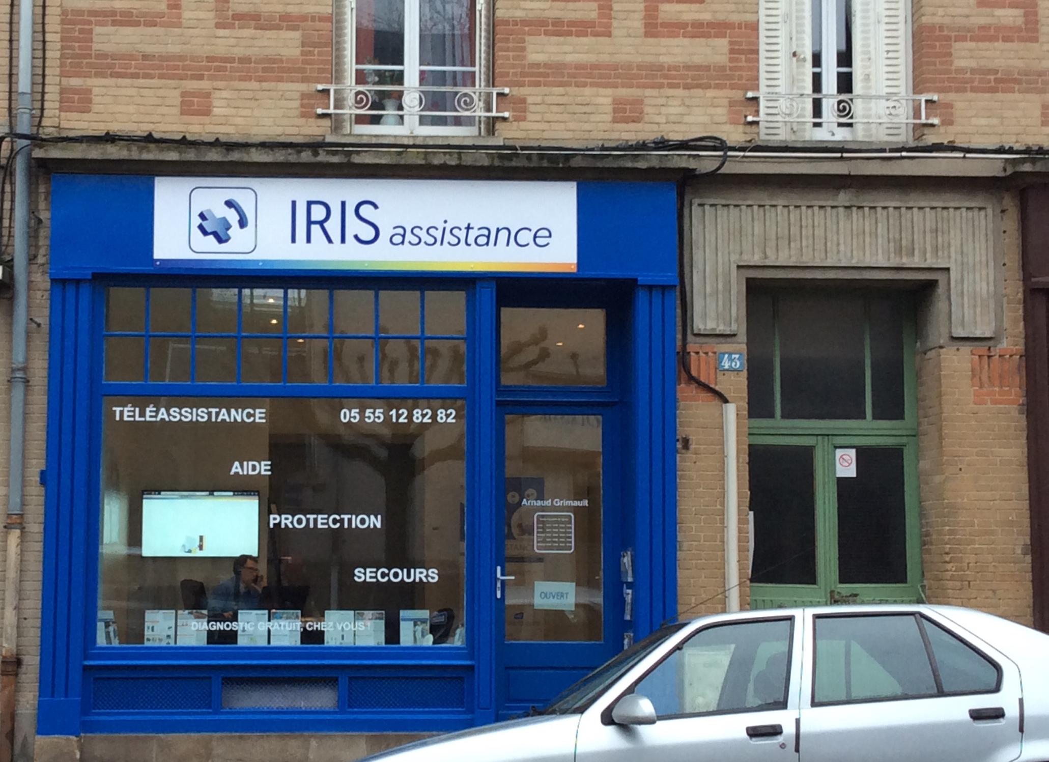Vitrine d el'agence Iris assistance